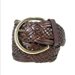 Michael Kors Brown Leather Braided Belt Sz M